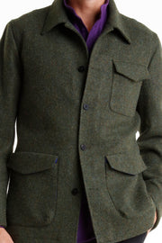 green scottish tweed odeon carpenter-collar jacket