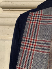 double-sided navy wool on Yorkshire check slim nehru-collar savoie jacket