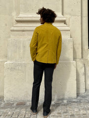 mustard-coloured stretch moleskin megève officer-collar jacket