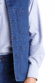 veste sans manches en denim indigo extensible