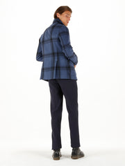 blue chequered wool cloth odéon carpenter-collar jacket