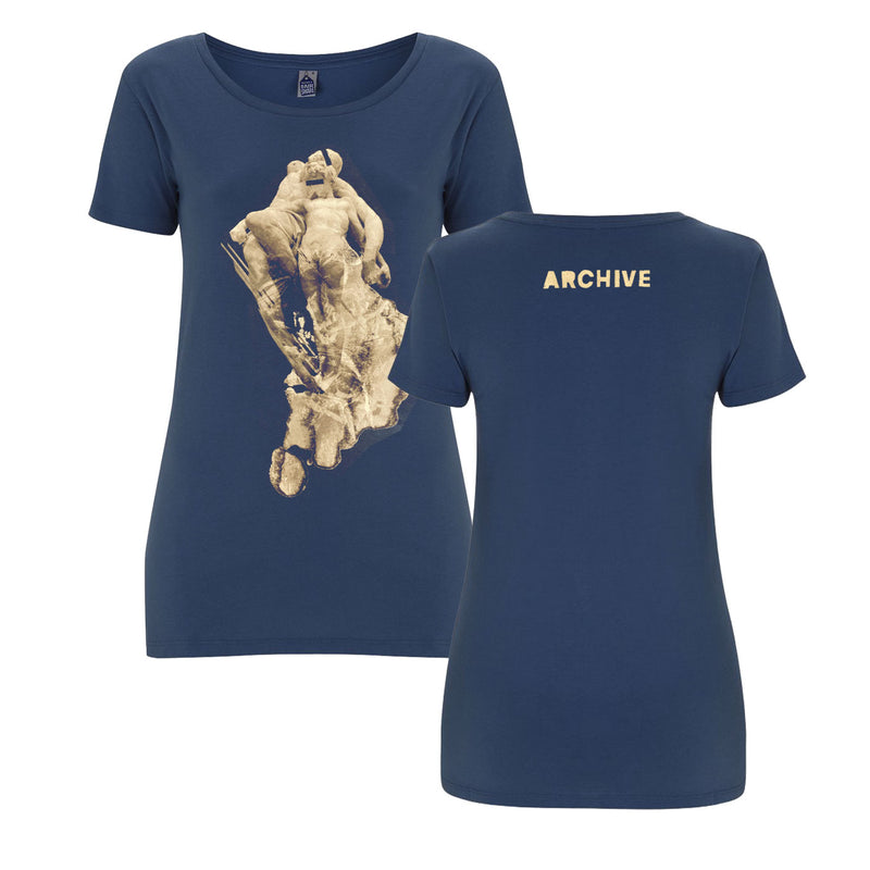 Abstract Statue Ladies Dk Blue T-Shirt