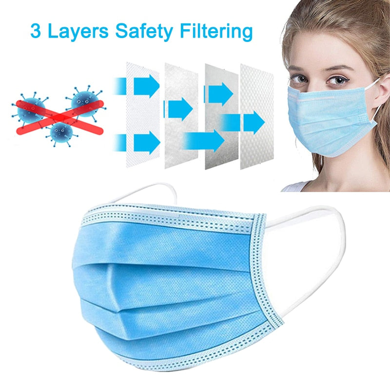 10/20/50pcs Face Covers Disposable 3-layer Mask - COVID-19 Face Mask