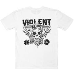BLAZING SKULL WHITE T-SHIRT