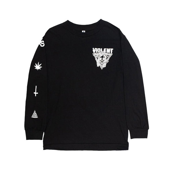 BLAZING SKULL BLACK LONG SLEEVE