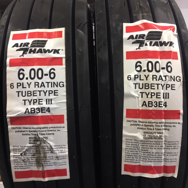 30844 (AB3E4) Air Hawk Tire, Tube Type, 600-6 6Ply