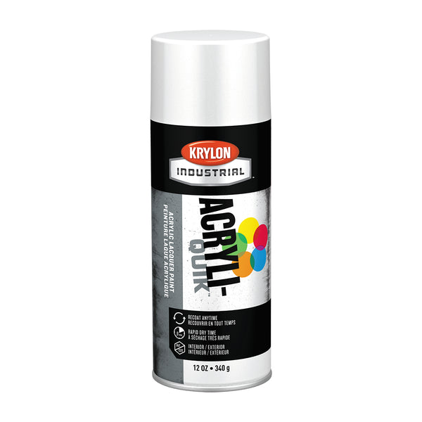 K01501A07-CS Krylon Acryli-Quik Gloss White Paint, 6x12oz Case