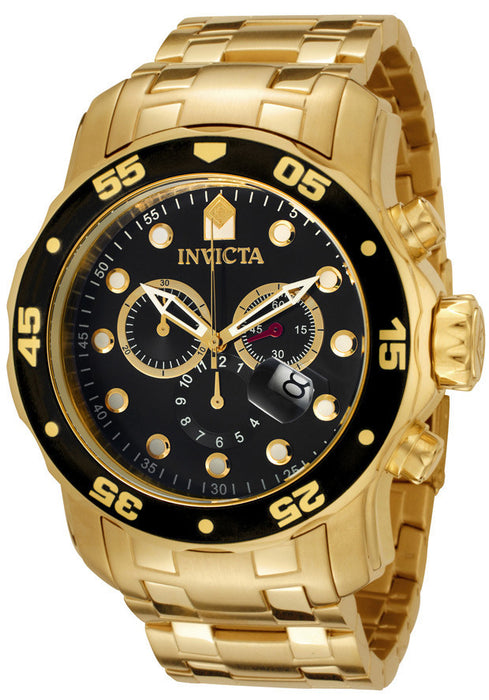 Invicta 0072 Men's Pro Diver Chronograph 18k Yellow Gold Plated