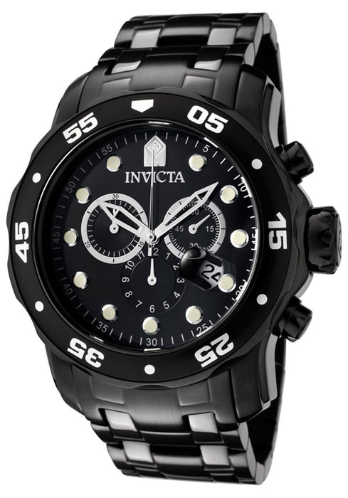 Invicta 0076 Men's Pro Diver Chronograph Black Ion Plated Stainless Steel