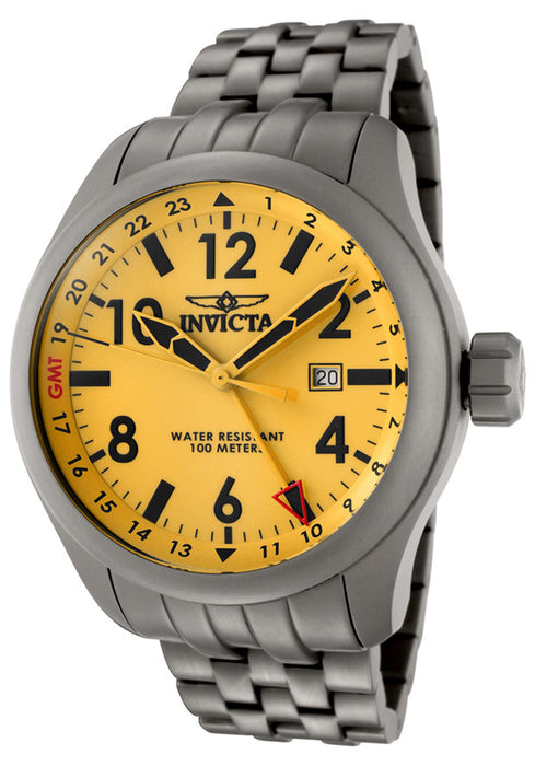 Invicta 0194 Men's Force Yellow Dial Grey Matte Stainless Steel