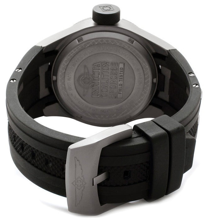 Invicta 0224 Men's Watch Coalition Force GMT Black Dial Black Polurethane and Titanium