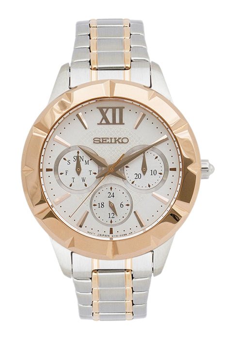 Seiko Multi Function Women's Watch with 2 Tone Bracelet and Silver Tone Dial - SKY692P1