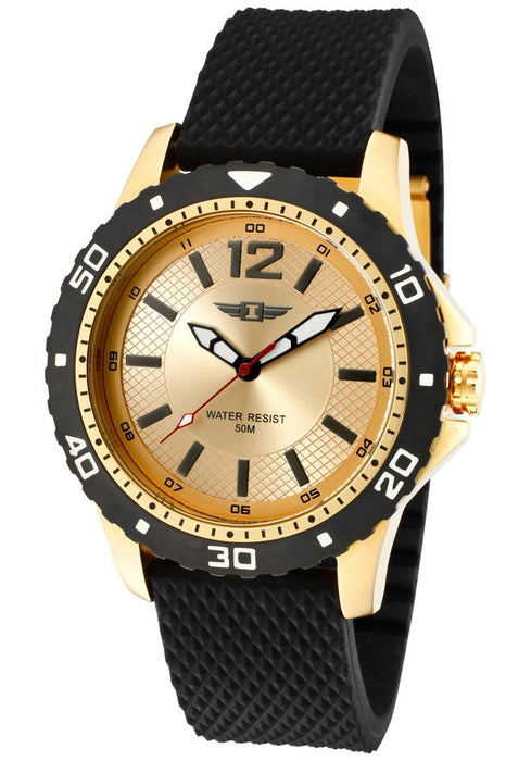 Men's Black Textured Silicone Gold-Tone Dial