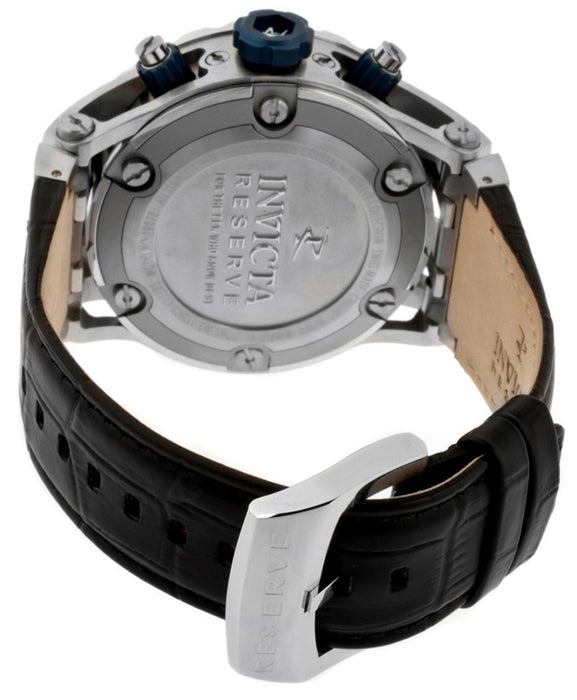 Invicta 10086 Men's Subaqua/Reserve Chronograph Silver Textured Dial Black Genuine Leather