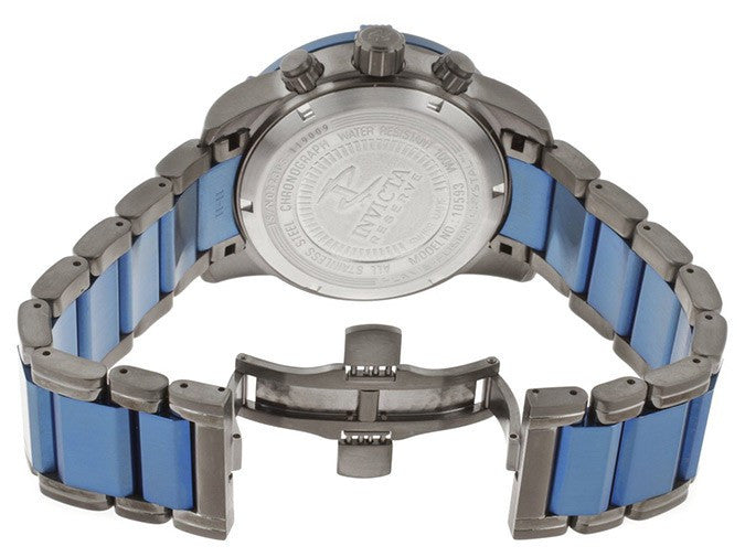 Invicta 10593 Men's Reserve Black Textured Dial Gunmetal and Blue Ion Plated Stainless Steel