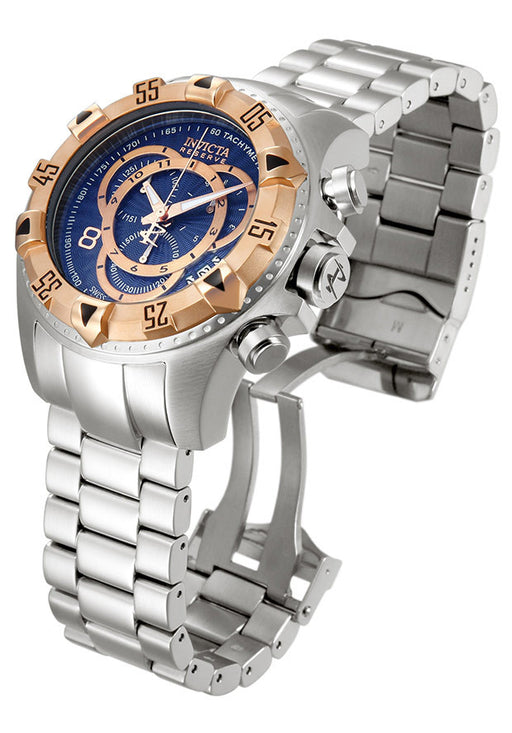 INVICTA 10999 Men's Excursion Reserve Chrono SS Blue Dial Rose-Tone Bezel