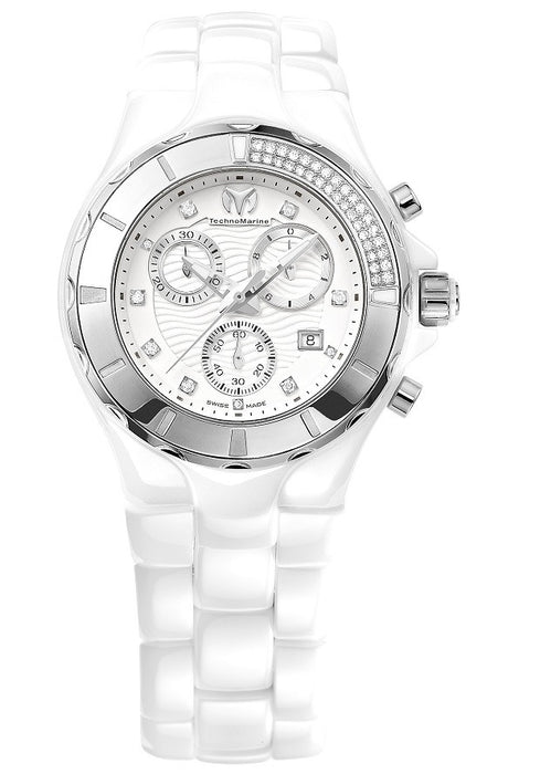 TECHNOMARINE UNISEX WHITE CERAMIC CASE CHRONOGRAPH WATCH 110031