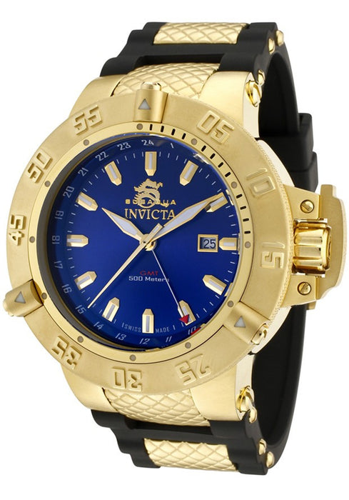 Invicta 1150 Men's Subaqua GMT Blue Dial Black Rubber