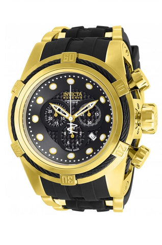 Invicta Men's 12666 Bolt Reserve Chronograph Black Carbon Fiber Dial Black Polyurethane Watch