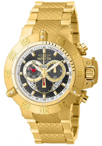 INVICTA 14454 Subaqua Chronograph Gunmetal Dial Gold Ion-plated Mens Watch
