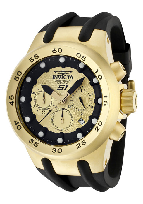 Invicta Men's 1511 Specialty Chronograph Gold Dial Black Polyurethane Watch