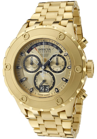 Invicta 1568 Reserve Chronograph Champagne Dial 18kt Gold Ion-plated Mens Watch
