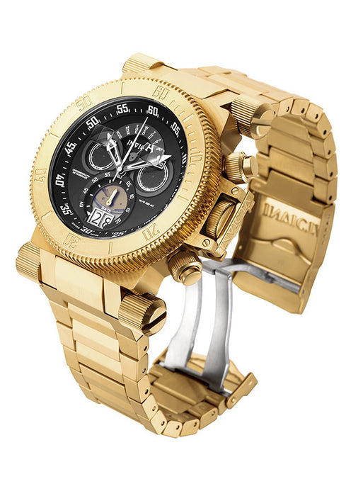INVICTA 17642 Men's Coalition Forces Chrono 18K Gold Plated SS Black Dial