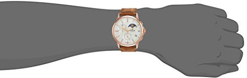 Edox Men's 'Les Bemonts' Swiss Quartz Stainless Steel and Leather Dress Watch, Color:Brown (Model: 01651 37R AIR)