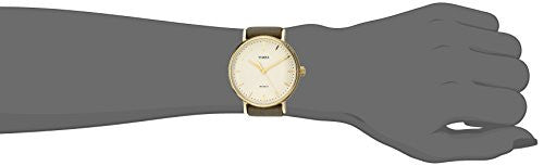 Timex Unisex TW2P98500 Fairfield 37 Olive Leather Slip-Thru Strap Watch