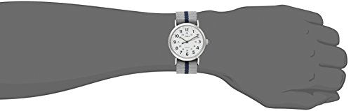 Timex Men's  TW2P72300 Weekender Reversible Gray/Blue Stripe Nylon Slip-Thru Strap Watch