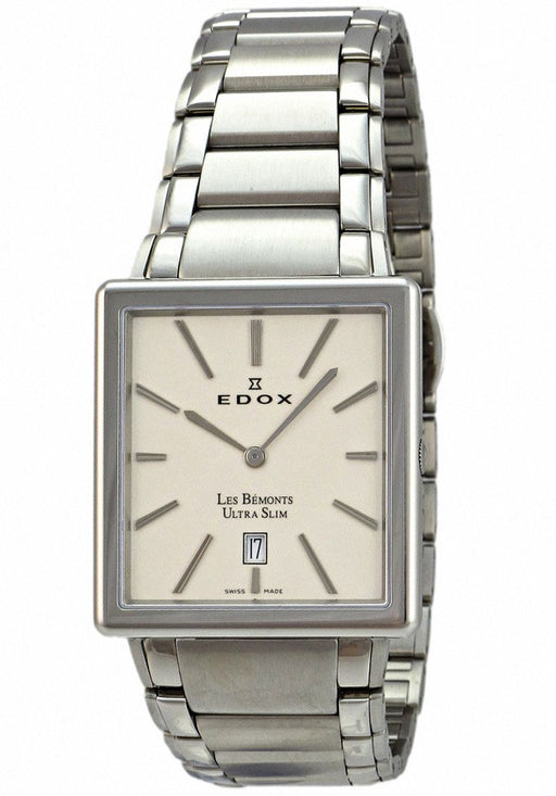 Edox Men's 27031 3 AIN Les Bemonts Rectangular Ultra Slim Watch