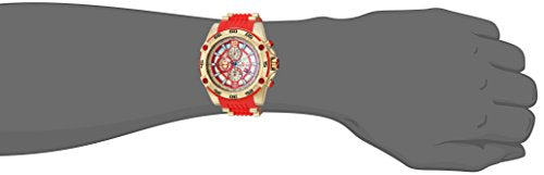 Invicta Men's 'Marvel' Quartz Stainless Steel and Silicone Watch, Color:red (Model: 26796)
