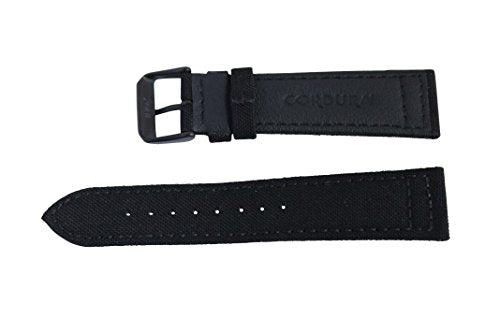 22mm Black w/ Black Buckle Genuine Cordura Hadley Roma Padded Stitched Watch Band Strap MS850