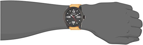 Nixon Men's 'Corporal' Quartz Metal and Leather Watch, Color:Orange (Model: A2432448-00)