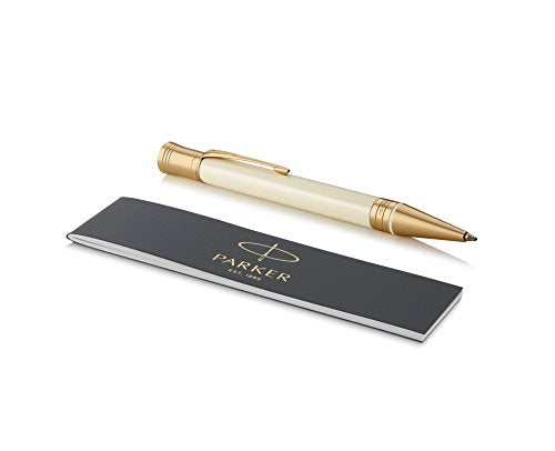 PARKER Duofold Ballpoint Pen, Classic Ivory & Black with Medium Point Black Ink Refill