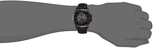 Fossil Men's ' Mechanical Hand Wind Stainless Steel and Leather Casual Watch, Color:Black (Model: ME3096)