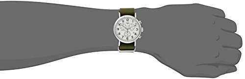 Timex Men's TW2P71400 Weekender Chrono Oversize Green Nylon Slip-Thru Strap Watch