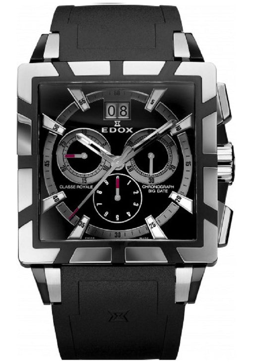 Edox Men's 45003 357N NIN Classe Royale Automatic Chronograph Sapphire Crystal Black Dial Date Leather Watch