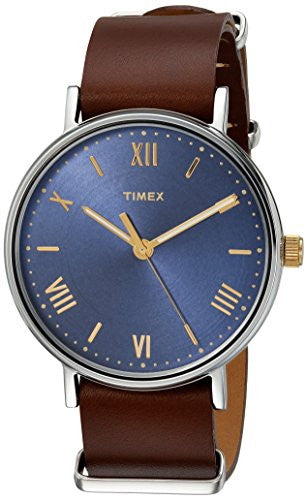 Timex Men's TW2R28700 Southview 41 Brown/Blue Leather Strap Watch