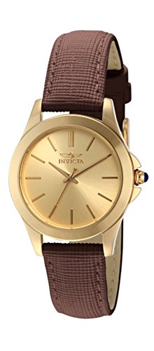 "Invicta Women's 15150 ""Angel"" 18k Yellow Gold Ion-Plated Stainless Steel and Brown Leather Watch"