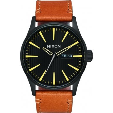 Nixon Sentry Leather Black Stamped Brown A105-2664