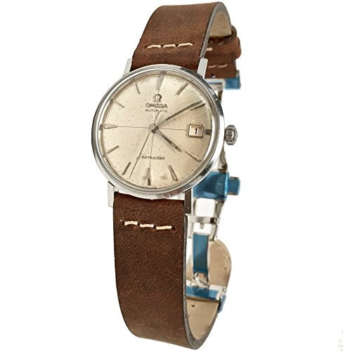 Vintage 1961 Omega Seamaster Watch (Natural Patina Silver Dial) with Brown Suede Leather Band