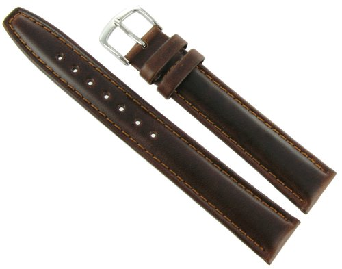 Hadley Roma MS881 20mm Short Watch Band Oiled Leather Brown Padded Mens