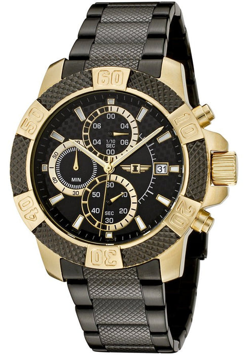 Men's Chronograph 18k Gold Plated and Black Stainless Steel