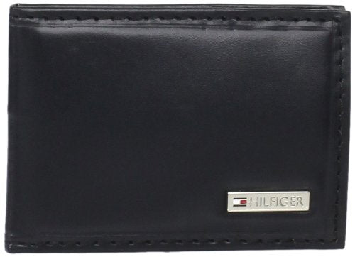 Tommy Hilfiger Men's Slim Front Pocket Wallet, Black, One Size
