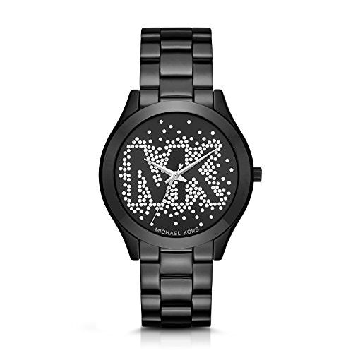 Micheal Kors Women's Slim Runway Logo Black Watch MK3589