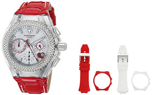 Technomarine Women's 'Cruise' Quartz Stainless Steel and Leather Casual Watch, Color:red (Model: TM-117001)