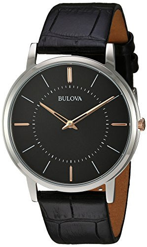 Bulova Men's Quartz Stainless Steel and Leather Casual Watch, Color:Black (Model: 98A167)