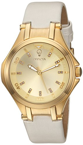 Invicta Women's 'Gabrielle Union' Quartz Stainless Steel and Leather Casual Watch, Color:White (Model: 23251)
