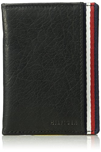 Tommy Hilfiger Men's 100% Leather Magnetic Slim Front Pocket Wallet, black, One Size